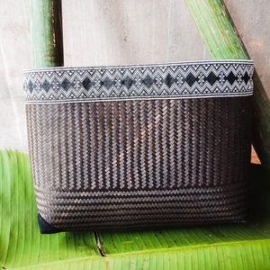 Handwoven Black Custom Rattan Purse